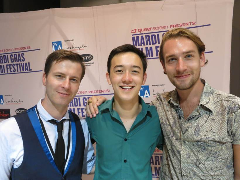 My Queer Career winning director Brendon McDonall , Kim and playwright Tom Mesker at the My Queer Awards ceremony.